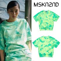 【MSKN2ND】TIE DYE MINI LOGO SS SWEATSHIRT NEON GREEN