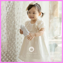【ArimCloset】lace+pink ribbon natural color cotton dress