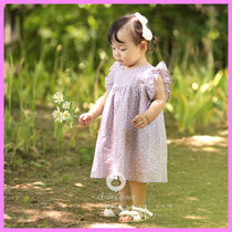 【ArimCloset】baby pink & violet baby flower cotton dress