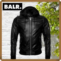 【BALR.】HOODED LEATHER BOMBER JACKET