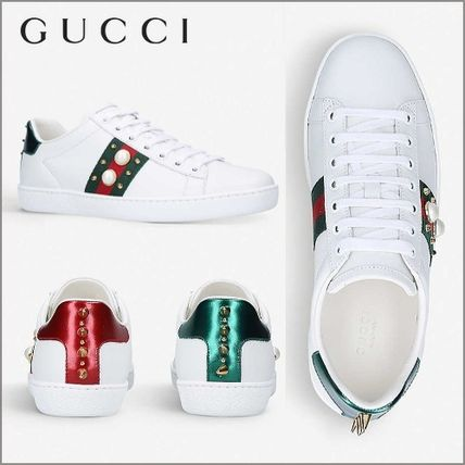 人気★GUCCI★ New Ace pearl-trim leather trainers スニーカー