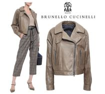 BRUNELLO CUCINELLI☆Cropped bead-embellished leather jacket