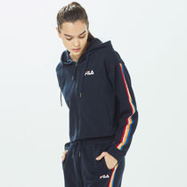 [ FILA ] Women's Heritage Tape Zzury Hood Zip-Up (Ink navy)
