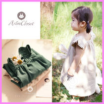 【ArimCloset】deep green / nature beige linen cotton dress