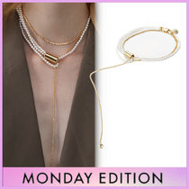 【MONDAY EDITION】大人気★Dropped Chain and Pearl ネックレス