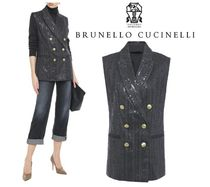 BRUNELLO CUCINELLI☆Double-breasted herringbone cotton vest