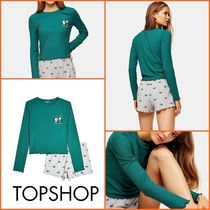 TOPSHOP【関税込み】FOREST RIBBED PANDAパジャマセットn393