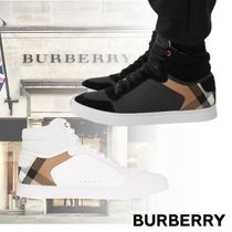 BURBERRY Leather and House Check High-top  スニーカー ロゴ