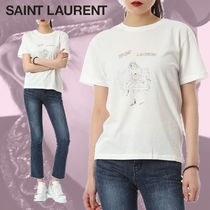 【EMS発送込】Saint Laurent☆WOMAN イラスト Tシャツ M WHITE