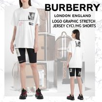 NEW!!BURBERRY LOGO GRAPHIC STRETCH JERSEY CYCLING SHORTS