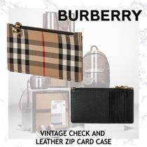 NEW!!BURBERRY VINTAGE CHECK AND LEATHER ZIP CARD CASE