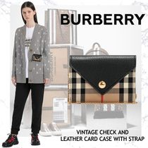 NEW!!BURBERRY VINTAGE CHECK AND LEATHER CARD CASE WITH STRAP