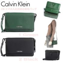 SALE★ロゴ【送込Calvin Klein】CB肩紐スマホ/財布バッグ★緑黒
