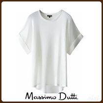 MassimoDutti♪LINEN T-SHIRT WITH TURN-UP DETAIL
