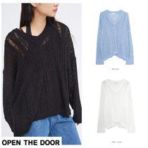 日本未入荷★OPEN THE DOOR★grunge v-neck punching knit (3 cl