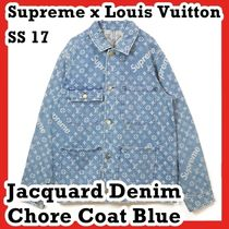 Supreme x Louis Vuitton Jacquard Denim Chore Coat Blue SS 17