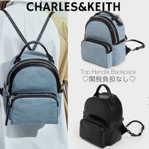 追跡アリ/送関込☆CHARLES&KEITH Textured Top Handle Backpack