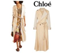 [関税・送料込] CHLOE☆Canvas-paneled satin-twill trench coat