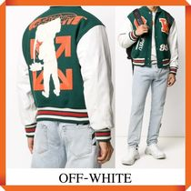 OFF WHITE Logo Patches Varsity Jacket