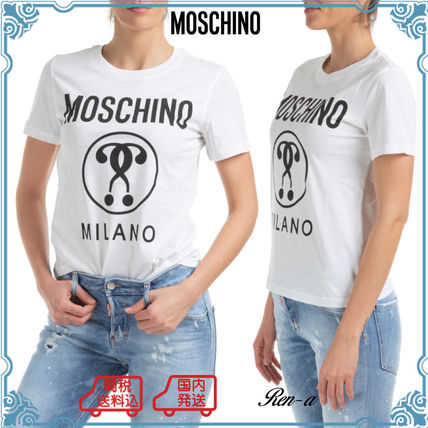 Moschino Tシャツ・カットソー 関送無料★Moschino★DOUBLE QUESTION MARK コットンTシャツ