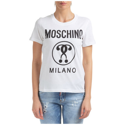 Moschino Tシャツ・カットソー 関送無料★Moschino★DOUBLE QUESTION MARK コットンTシャツ(4)