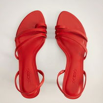 """MANGO"" LEATHER STRAP SANDAL RED"