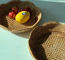 【SOSO COMMA】Two-wave round rattan basket (S)