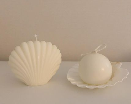 DECO VIEW キャンドル 【F5NATURE】Mini Pearl Egg Candle (Shell Tray Set)(6)