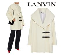 [関税・送料込]LANVIN☆Buckled leather-trimmed wool-felt coat