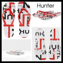 【Hunter】Exploded Logo Flip Flop ビーチサンダル WHITE RED