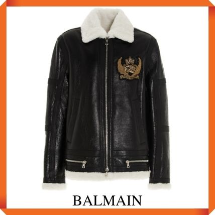 BALMAIN レザージャケット BALMAIN Black leather jacket with white sheepskin collar