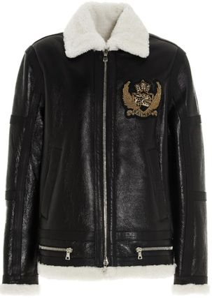 BALMAIN レザージャケット BALMAIN Black leather jacket with white sheepskin collar(2)