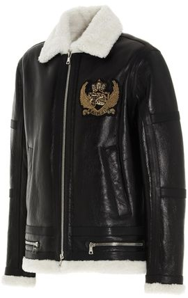 BALMAIN レザージャケット BALMAIN Black leather jacket with white sheepskin collar(3)