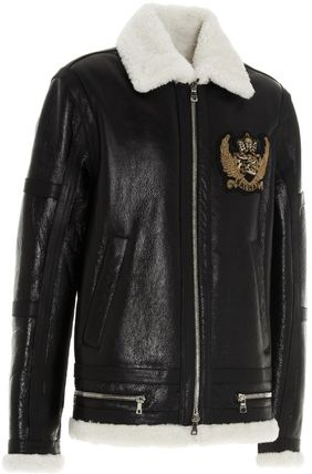 BALMAIN レザージャケット BALMAIN Black leather jacket with white sheepskin collar(4)