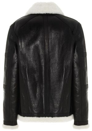 BALMAIN レザージャケット BALMAIN Black leather jacket with white sheepskin collar(5)