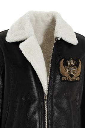 BALMAIN レザージャケット BALMAIN Black leather jacket with white sheepskin collar(6)