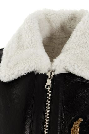 BALMAIN レザージャケット BALMAIN Black leather jacket with white sheepskin collar(8)