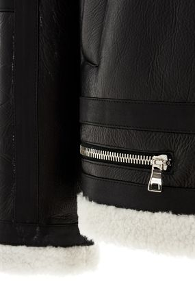BALMAIN レザージャケット BALMAIN Black leather jacket with white sheepskin collar(9)