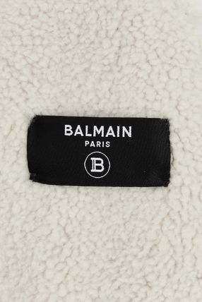 BALMAIN レザージャケット BALMAIN Black leather jacket with white sheepskin collar(10)