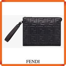 FENDI BLACK NAPPA LEATHER SLIM POUCH