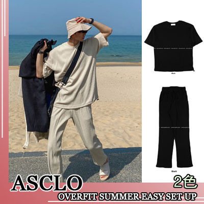 ASCLO セットアップ ASCLO★韓国の人気★OVERFIT SUMMER EASY SET UP 2色