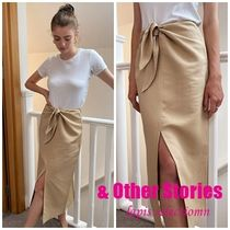 【ASOS】& Other Stories knot-detail midi skirt in beige