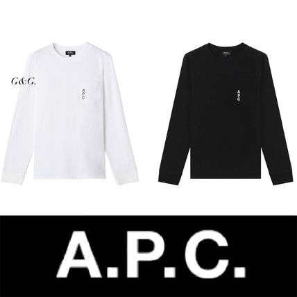 A.P.C. Tシャツ・カットソー 完売必須!!【A.P.C.】ロゴ入りポケット付長袖Tシャツ 2色