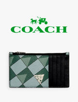 ★ COACH ★ Zip Card Case With Check Geo Print