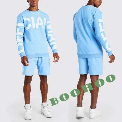 boohoo セットアップ ★boohoo★OFFICIAL MANプリント/スウェットセットアップ BLUE