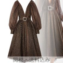 Monique Lhuillier(モニークルイリエ) パーティードレス Belted embroidered metallic tulle midi dress