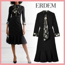 ☆送料関税込☆ERDEM Hilma belted floralprint satin mididress