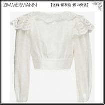 Zimmermann☆トップス☆Floral-embroidered cropped linen top