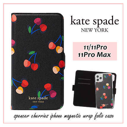 kate spade new york スマホケース・テックアクセサリー 【国内発送】spencer cherries iphone magnetic wrap folio case