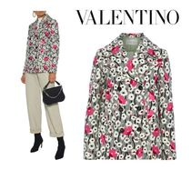 VALENTINO☆Double-breasted floral-print wool-felt jacket
